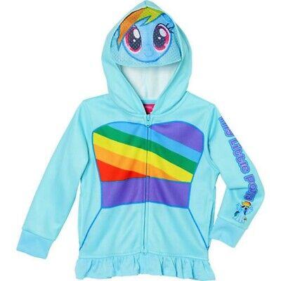 Mein Kleines Pony Regenbogen Streifen Reißverschluss Kapuzenpullover - Regenbogen Pony Kostüm