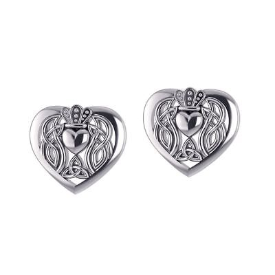 (Celtic Claddagh Heart Post Sterling Silver Earrings Peter Unique Stone Jewelry)