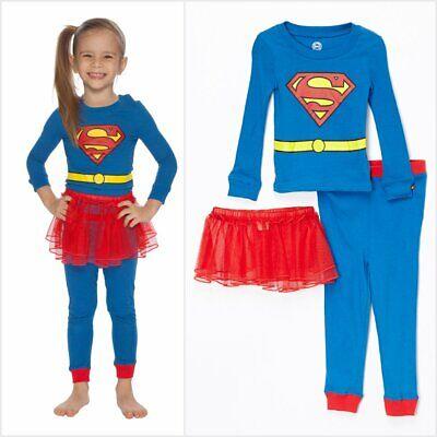 NWT DC Comics Supergirl Girls Blue Long Sleeve Tutu Pajamas Set Halloween