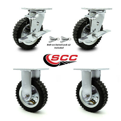 Scc 6 Air Wheel Caster-2 Swivel Wbrakes Bolt On Swivel Lock2 Rigid-set 4