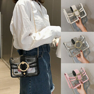 Summer PVC Transparent Clear Clutch Bag Chain Tote Jelly Bag Shoulder Handbag UK