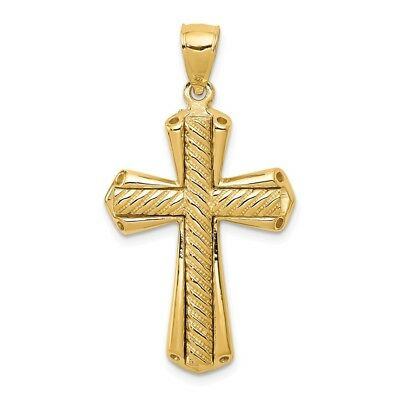 14k Yellow Gold Twisted Cross Charm Pendant 1.54 Inch Twisted Cross Charm Pendant