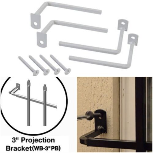 4-Pack 3 in Projection Bracket for Security Bar Window Guard Grisham WB3PB White