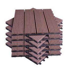 Garden Floor Tiles Set of 11PCs Interlock Decking Terrace Flooring Click System Brown