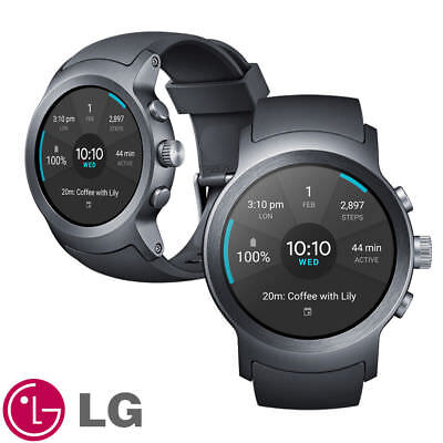 LG Watch Sport™- W281 Android Wear 2.0 Smart Watch Titan Silver Displayed