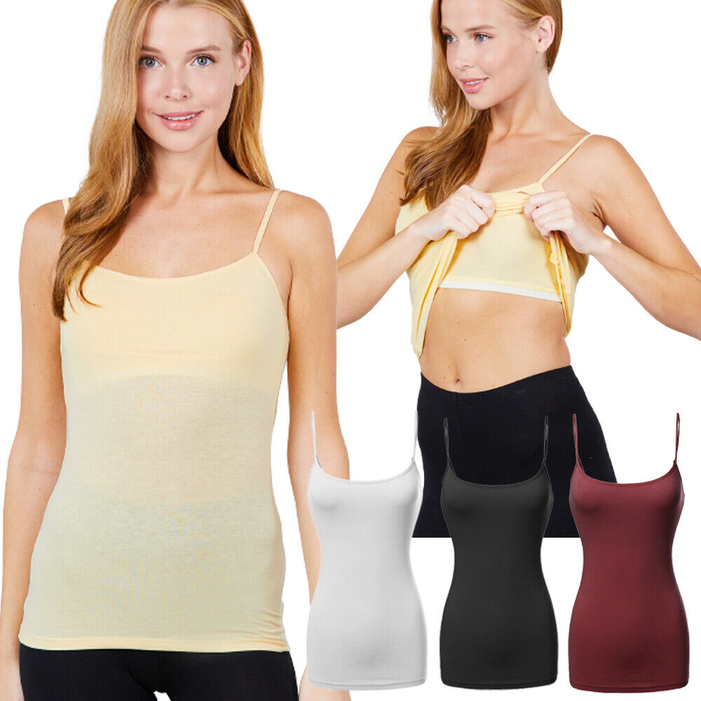 CAMI Camisole with Built in Shelf BRA Adjustable Spaghetti Strap Layer Tank Top Clothing, Shoes & Accessories