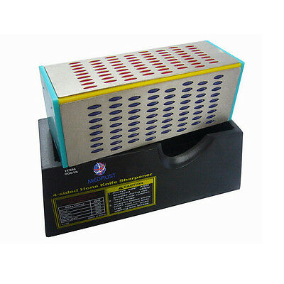4 Sided Sharpening Stone Diamond Hone Block Kitchen Knife Sharpener -