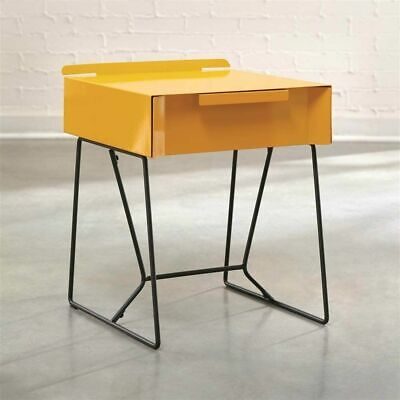 Modern Mid Century Nightstand End Side Chair Table w Drawer Metal Black Yellow Yellow Side Table