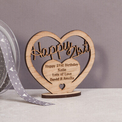 Personalised Wooden Heart for 21st 50th 60th Special Birthday Gift Message Stand - Decorations For 60 Birthday