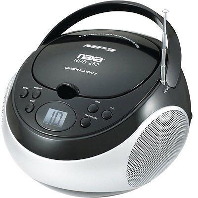 PORTABLE NAXA MP3/CD PLAYER with AM/FM STEREO RADIO BLACK MODEL NPB-252BLK NEW