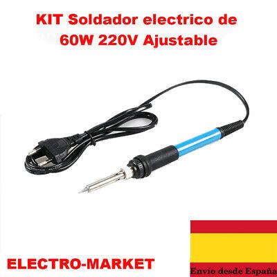 SOLDADOR DE ESTAÑO ELECTRICO PROFESIONAL 60W 200-480℃ Incluye Kit con Piezas