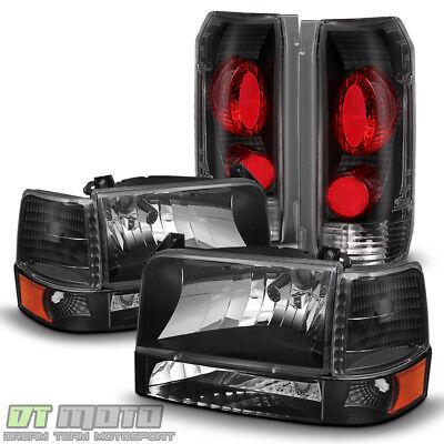 Black 1992-1996 Ford F150 F250 F350 Bronco Headlights+Bumper Signal+Tail Lights