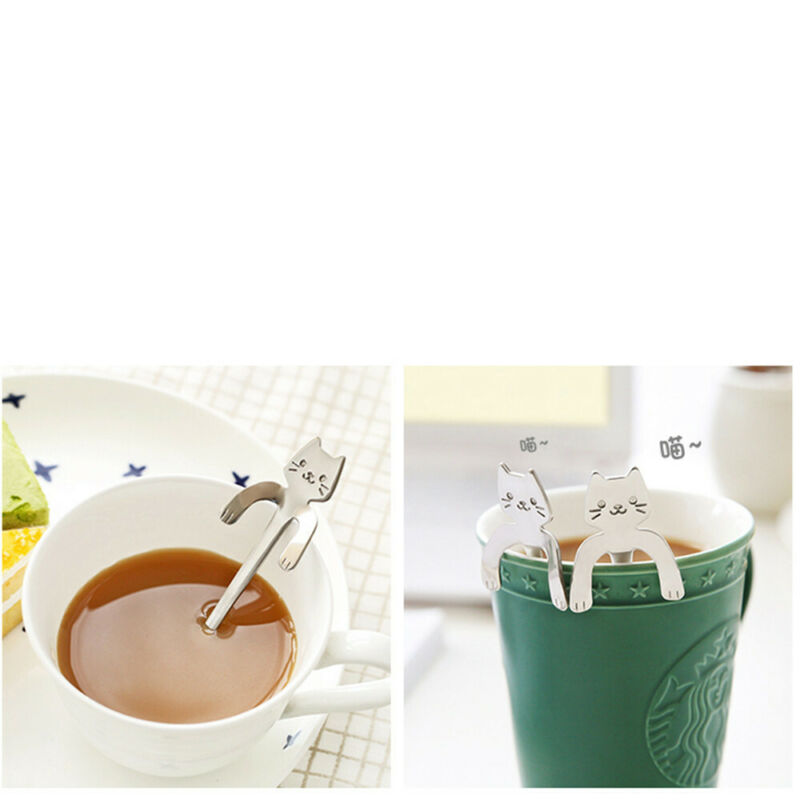 10PCS//Set Cartoon Cat Stainless Steel Tea Coffee Spoon Ice Cream Tableware UK