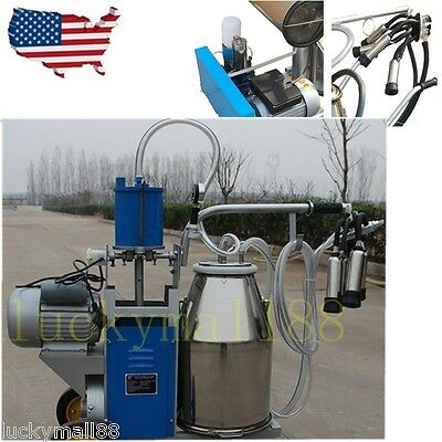 Electric Milking Machine For Farm Cows Goat Bucket 2plug 25l 304 Stainless Steel