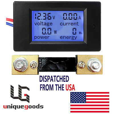 Dc 6.5100v 20-50-100a Lcd Digital Combo Panel Display Volt Amp Power Watt Meter