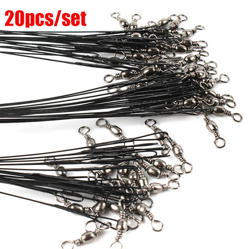 Thread Wire Leader With Swivel  Safety Snap Fishing Lead Line Rope Wire