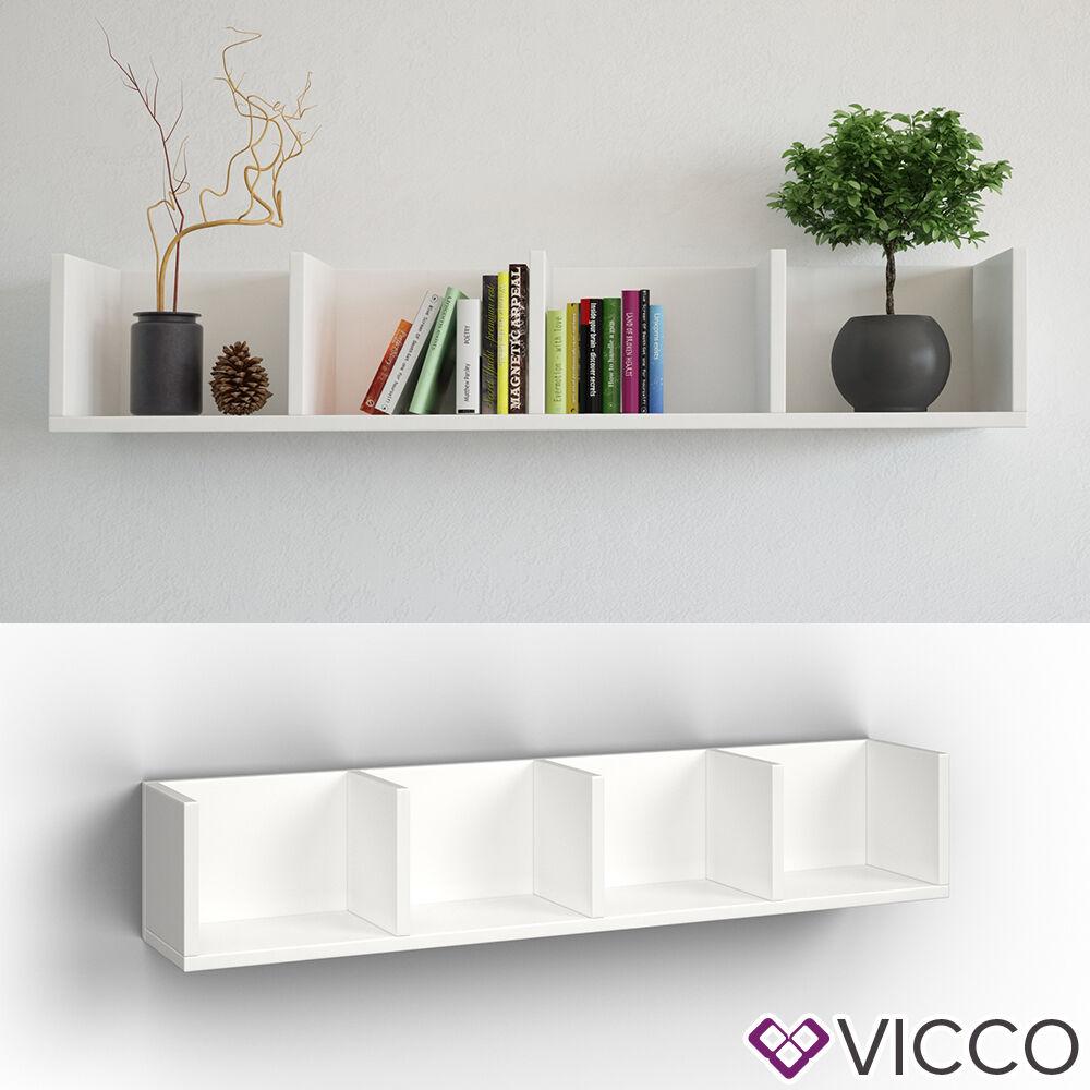 vicco wandregal 90 cm wei f r cd dvd deko spiele b cher medienregal regal 4251421912502 ebay. Black Bedroom Furniture Sets. Home Design Ideas