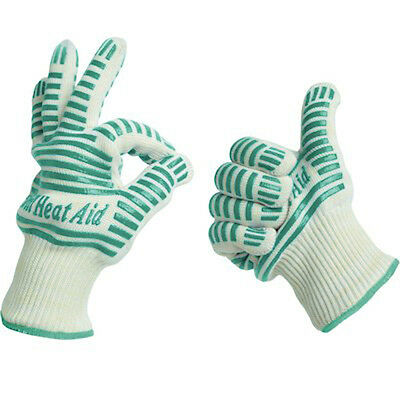 Grill Heat Aid Heat Resistant Gloves 932°F EN407 Certified for Oven and BBQ 2PCS