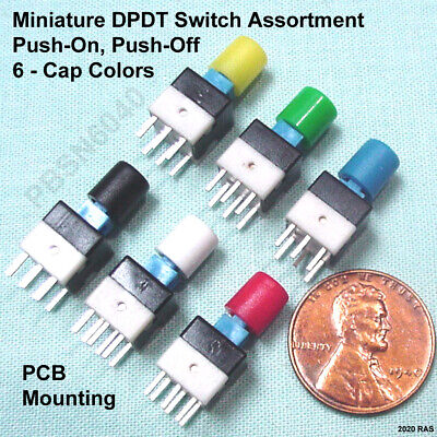 12 Miniature Dpdt Push-button Switch - Latching Push-on Push-off Assortment