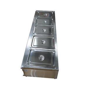 5-Pan Bain-Marie Buffet Food Warmer Steam Table 5 Standard 1/2pans&Lids 57×18×11inch