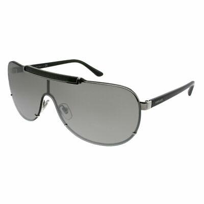 Versace VE 2140 10006G Silver Metal Shield Sunglasses Silver Mirror (Versace 2140)