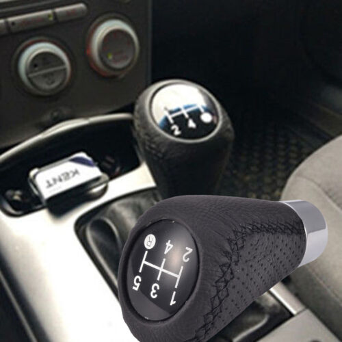 1Set Black Leather Manual 5 Speed Car Gear Stick Shift Knob Lever Handle Shifter