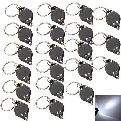 20Pcs Bright Mini White Keychain LED Light Lamp Key Ring Flash Flashlight Torch