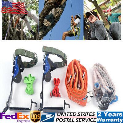 Treepole Climbing Spike Set Safety Belt Rope Safety Lanyard W Carabiner 2 Gear