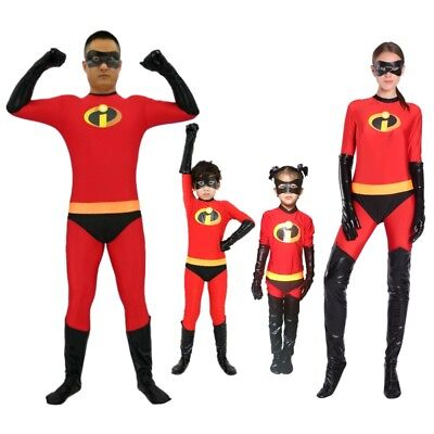 The Incredible Costume (The Incredibles Family Costume Elastigirl Violet Parr Cosplay Kid Adult)
