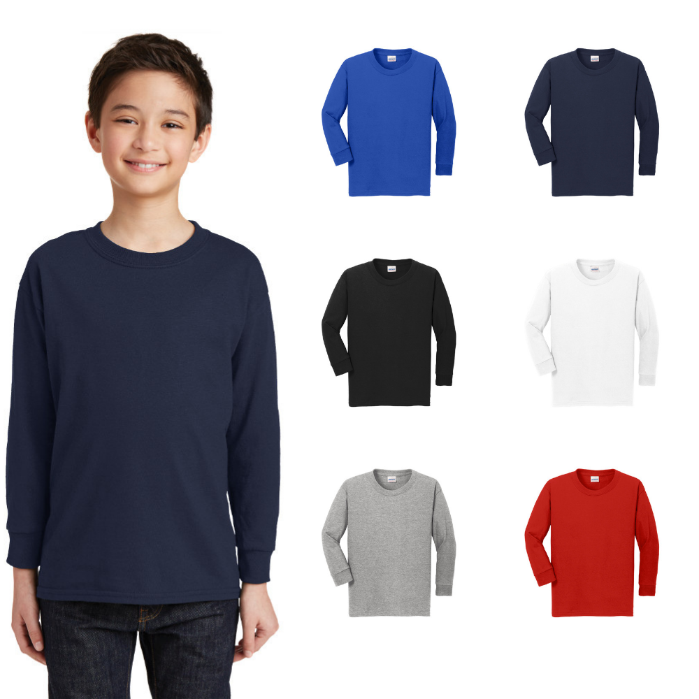Gildan Youth Long Sleeve T-Shirt Heavy Cotton Tee 100% Cotto