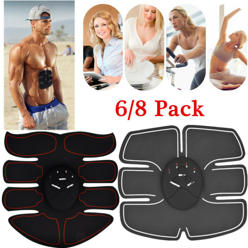Electronic 6/8 Pads Abdominal Muscle Toner Abs Hip Trainer M