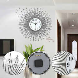 60x60cm Modern Luxury Large Art Round Diamond Wall Clock Living Room Decor TOP