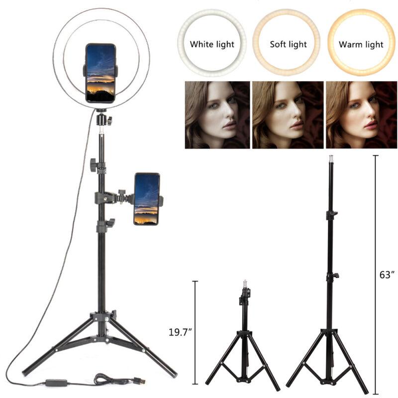 "10"" Selfie Desktop LED Ring Light With Tripod stand Phone Holder Camera Lighting"