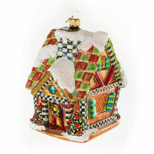 NEW MacKenzie Childs Super Sweet GINGERBREAD HOUSE Glass Ornament & Gift Box
