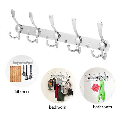 15 Hooks Stainless Steel Coat Robe Hat Clothes Wall Mount Hanger Towel (Wall Mount Coat Hanger)