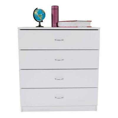 Dressers Chest of Drawers 4 Drawer Soft White Finish Bedroom