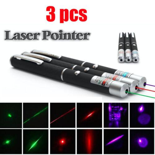 3PCS Green+Red+Blue Purple Laser Pointer Pen Visible Beam Mini Lazer Pet Cat Toy