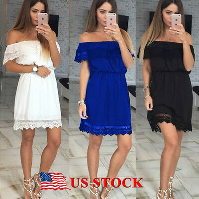 Off Shoulder Lace Short Mini Dress For Women Slim Casual Summer Beach Sundress
