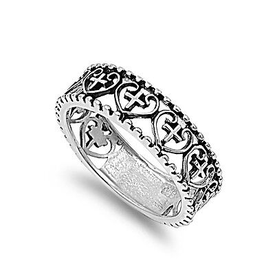 (.925 Sterling Silver Cross and Heart Religious Fashion Promise Ring Size 4-12)