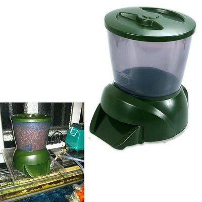 4.25L Timer Automatic Digital Pond Fish Feeder LED Display Pond Green