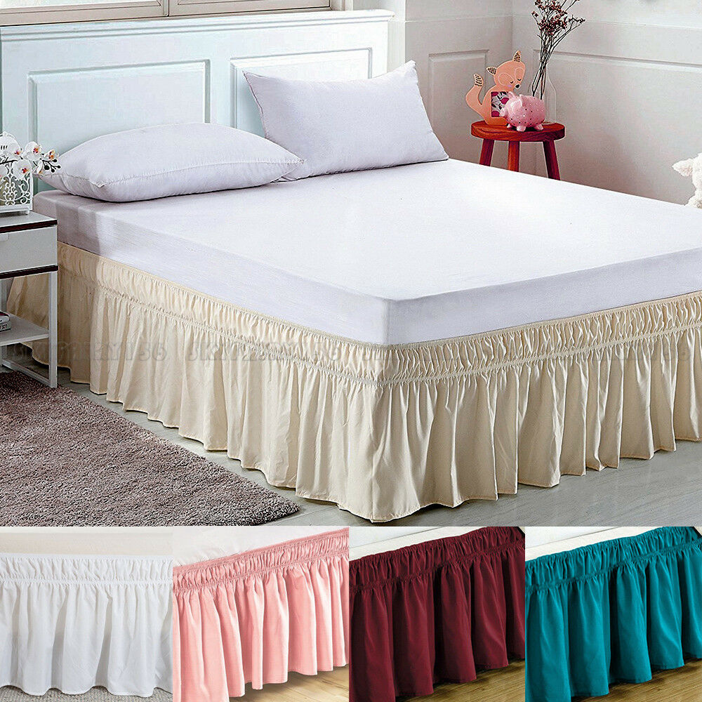 Elastic Bed Skirt Dust Ruffle Easy Fit Wrap Around Twin Full Queen