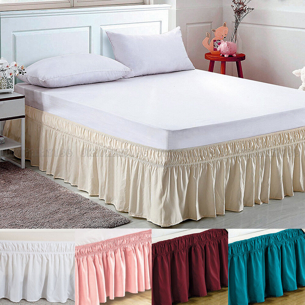 Elastic Bed Skirt Dust Ruffle Easy Fit Wrap Around Twin
