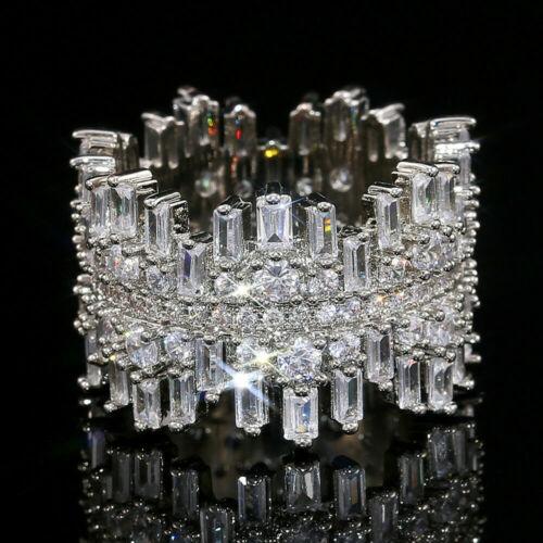 Modern Full Eternity Band Engagement & Wedding Ring 14K White Gold 5.1Ct Diamond