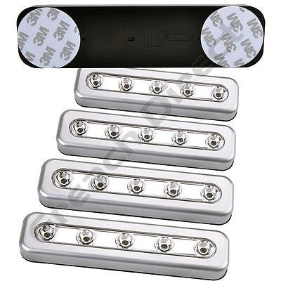 4 X SILVER 5 LED STRIP PUSH LIGHTS 3M STICKERS BATTERY STICK ON KITCHEN CUPBOARD