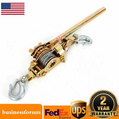 4400lb 2 Ton Hand Lever Puller Come Along Double Hooks Cable Hoist Ratchet Usa