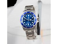 Reginald Silver Blue Coloured Watch Submariner Type Stainless Steel Strap