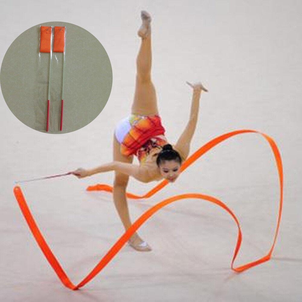 Gym Dance Ribbon Gymnastics Art Ballet Streamer Twirling Rod Outdoor Sport 2M  Z
