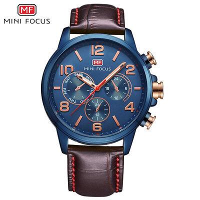 Mini Focus Sub Dial Decoration Men Military Sport Leather 30M Waterproof Watch