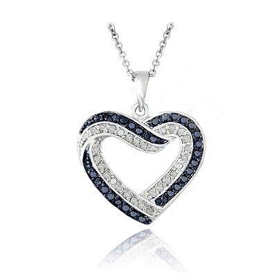 Diamond Open Heart Pendant - 0.50ct TDW Black or Blue & White Diamond Open Heart Necklace