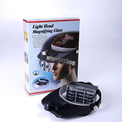 1 Set Dental Lab Led Head Light Loupe With 4 Lenses Light Glass Salon Magnifier